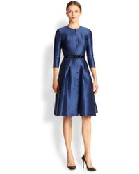 Carolina Herrera Belted Silk Mikado Dress - Lyst