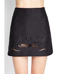 Forever 21 Embroidered Mini Skirt - Lyst