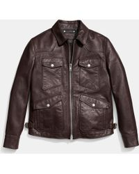 Coach Collection Four Pocket Leather Jacket - Lyst