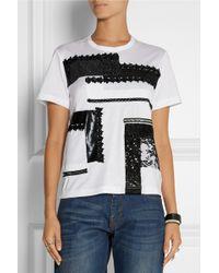 Junya Watanabe Comme Des Garçons Embellished Cottonjersey Tshirt - Lyst