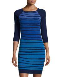 Catherine Catherine Malandrino Winnie Knit Striped 3/4-Sleeve Dress - Lyst