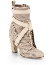 Fendi Perforated Lace-Up Leather Ankle Boots - Lyst