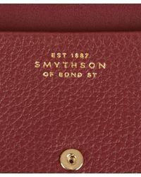 Smythson Burgundy Leather Card Case - Lyst