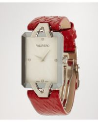 Valentino - Red and Diamond Gemme Rectangle Leather Bracelet Watch - Lyst