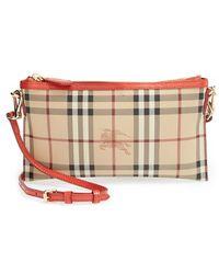 Burberry Women'S 'Peyton - Haymarket Check' Crossbody Bag - Red - Lyst