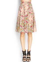 Love 21 Floral Midi Skirt - Lyst