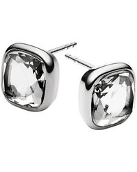 Michael Kors Stainless Steel And Clear Stone Stud Earrings - Lyst