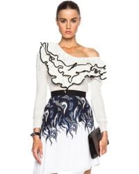 Rodarte Hand Knit Wool Ruffled Sweater - Lyst