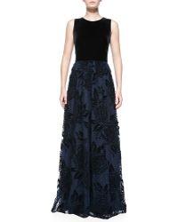 Aidan Mattox Sleeveless Gown W Flocked Point Desprit Skirt - Lyst