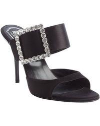 Roger Vivier Black Nylon Crystal Detail Heel Sandals - Lyst