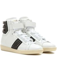 Saint Laurent Studded Hightop Sneakers - Lyst