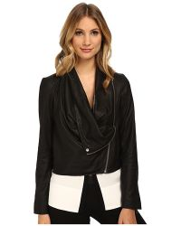 Helmut Lang Kiln Leather Drape Front Leather Jacket - Lyst