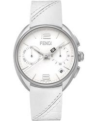 Fendi Momento Stainless Steel, Alligator & Leather Chronograph Strap Watch silver - Lyst