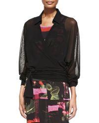 Jean Paul Gaultier Sheer Oversized Wrap Blouse - Lyst