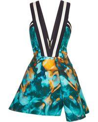 Elie Saab Printed Stretch Cotton V-neck Mini Dress - Lyst