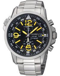Seiko Men'S Chronograph Solar Stainless Steel Bracelet Watch 42Mm Ssc093 - Lyst