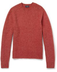 Polo Ralph Lauren Suede Elbow Patch Brushed Knittedwool Sweater - Lyst