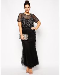 Asos Curve Red Carpet Pretty Embellished Maxi Dress - Lyst