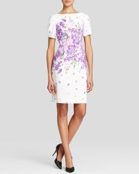 Adrianna Papell Dress - Garden Party Floral Print Short Sleeve Sheath - Lyst