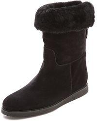 Ferragamo My Ease Shearling Boots Nero - Lyst