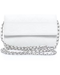 Chanel Pre-owned White Lambskin Wallet On Chain Woc - Lyst