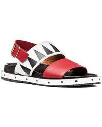 Marni | Two-band Sandal In Motif Calfskin | Lyst