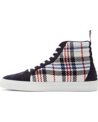 MSGM Navy Woven Plaid High_top Sneakers - Lyst