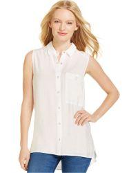Calvin Klein Jeans Sleeveless Button-Front Shirt - Lyst