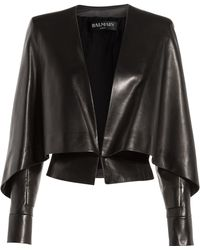 Balmain Leather Jacket With Bat Sleeves blue - Lyst