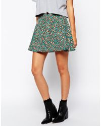 The Fifth Right Here Skirt In Animal Print green - Lyst