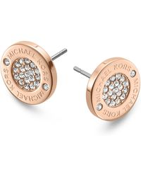 Michael Kors Logo Pave Stud Earrings - Lyst