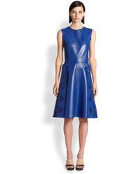 Alexander McQueen Laser-cut Leather Dress - Lyst