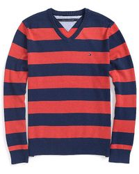 Tommy Hilfiger Stripe Vneck Sweater - Lyst