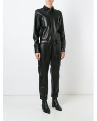 Each x Other - Leather Long Sleeve Jumpsuit - Lyst