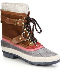 Burberry | Windmere Buckled Leather & Shearling All-weather Boots | Lyst