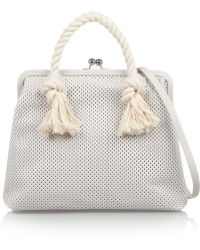 Clare V. Franc Rope-Trimmed Perforated Leather Tote - Lyst