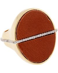 Rachel Zoe Tan Leather And 12K Gold Stamp Ring red - Lyst