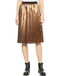 RED Valentino Metallic Pleated Skirt - Copper - Lyst