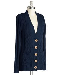 Mak Your Fireside Of The Story Cardigan in Navy - Lyst