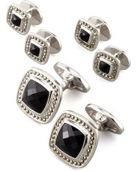Jan Leslie - Square Faceted Onyx Cuff Links & Studs Set - Lyst