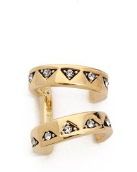 House of Harlow 1960 - Engraved 2 Ring Ear Cuff Gold - Lyst