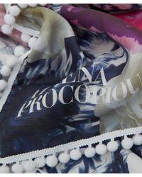 Athena Procopiou - Blue Pompom Silk Scarf - Lyst