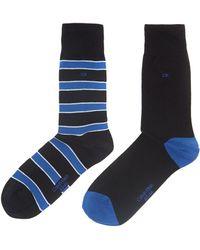 Calvin Klein 2 Pack Multistripe and Plain Sock - Lyst