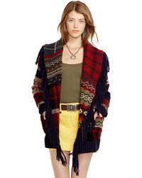 Ralph Lauren Patchwork Wool-Blend Cardigan - Lyst