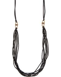 Cynthia Dugan Jewelry Black Seven Strand Crystal And Leather Necklace - Lyst