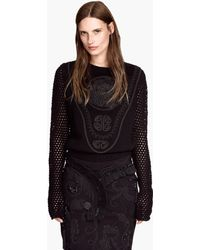 H&M Black Embroidered Jumper - Lyst