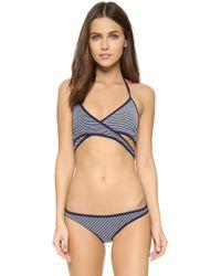 Bec & Bridge - Stripe Hype Crisscross Bikini Top - Lyst