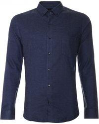 Scp | blue Solid Melange Flannel Shirt | Lyst