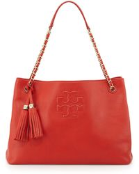 Tory Burch Thea Slouchy Chainstrap Tote Bag Jasper Red - Lyst