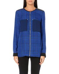 Michael by Michael Kors Oversized Silk Zip Shirt Amalfi Blue - Lyst